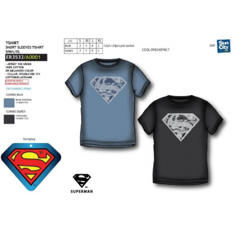 Camiseta Larga Adulto Superman 4Und.T.S-M-L-XL