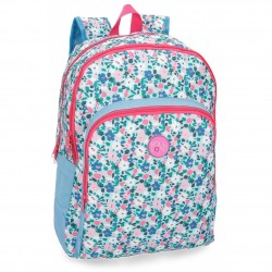 Mochila Escolar Roll Road Pretty Blue Doble Compartimento 44x33x13cm