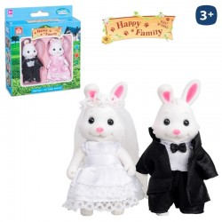 Conejo Novios Flocado Happy Family 2/Sut.8cm.