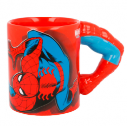 Taza 3D Brazo Spiderman Marvel Ceramica 330ml.