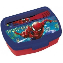 Sandwichera Spiderman Marvel y Cuchara,Tenedor