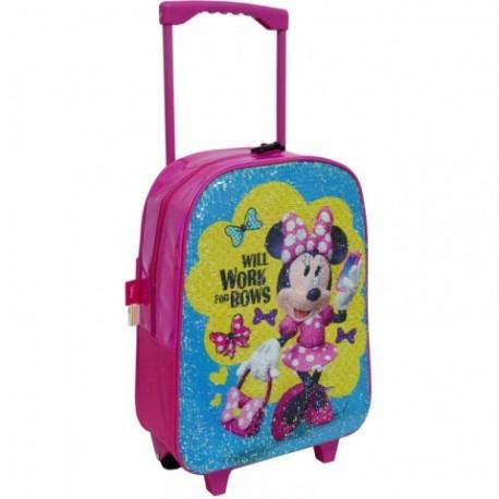 Mochila Con Trolley Fijo Minnie Disney C/ Lentejuelas 28x35x11cm.