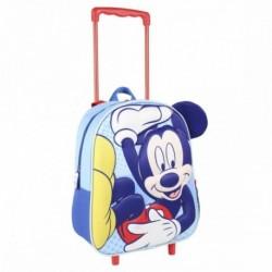 Mochila 3D Infantil Mickey Disney C/Carro 25x31x10cm.