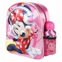 Mochila 3D Minnie Disney Con Botella Aluminio 25x31x10cm