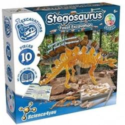 Stegosaurus Fossil Escavation-Juguete Cientifico, Dinosaurios, 10 Piezas y Libro Educativo Multilingue