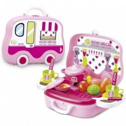 Maletin Cocina Con Alimentos Food Truck, Color Rosa