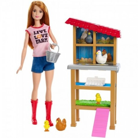 Barbie Quiero Ser Granjera de Gallinas y Pollitos, con Animales y Accesorio