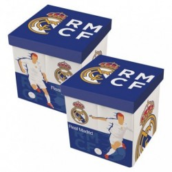 Taburete Contenedor Real Madrid 30x30x30cm.