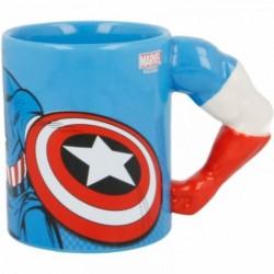 Taza 3D Brazo Capitan America Marvel Ceramica 330ml.