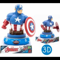 Lampara De Noche Figura 3D C apitan America Marvel 25cm.