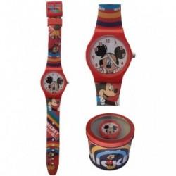 Reloj Analogico Mickey Disney Con Caja De Metal