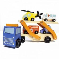 Camion Transporte Madera + 4 Vehiculos De Madera