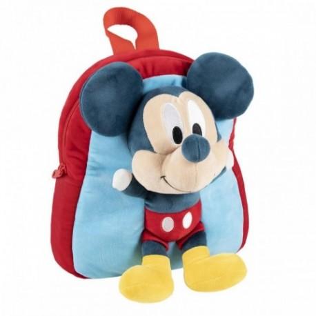 Mochila Guarderia Mickey Disney Con Peluche 20x23x8cm.