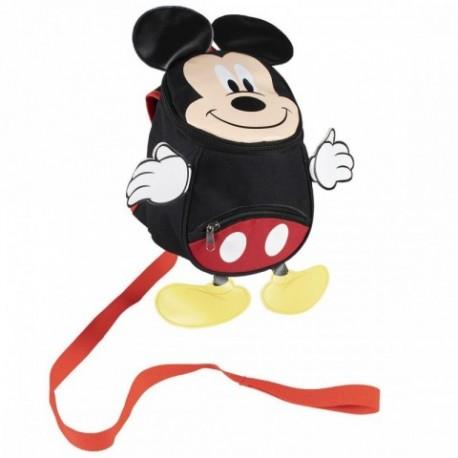 Mochila Guarderia Con Arnes Mickey Disney 9x20x27cm.