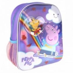 Mochila Infantil Con Burbuja y Confetti Peppa Pig 25x31x10cm.