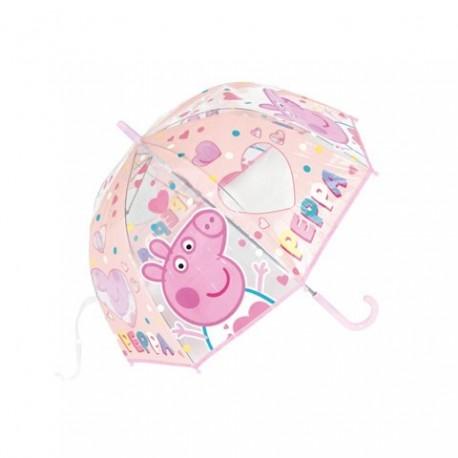 Paraguas Eva Transparente Burbuja Peppa Pig Manual 48cm.