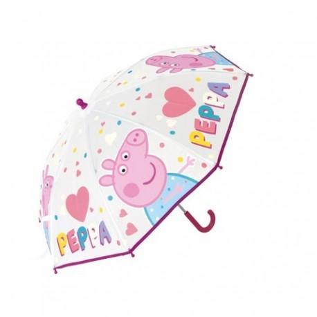 Paraguas Eva Transparente Peppa Pig Manual 46cm.