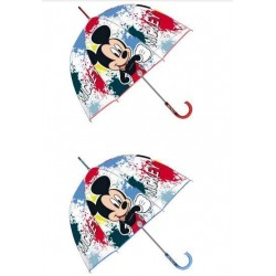 Paraguas Eva Transparente Burbuja Mickey Disney Manual 48cm.