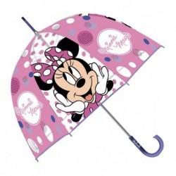Paraguas Eva Transparente Burbuja Minnie Disney Manual 48cm.