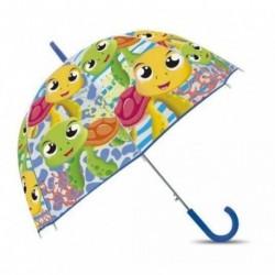 Paraguas Eva Transparente Burbuja Tortuga Manual 48cm.
