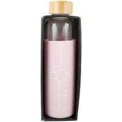 Botella De Agua De Vidrio Con Funda De Silicona y Tapon Hermetico Minnie Disney 585Ml.